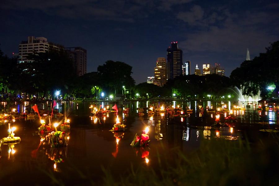 Bangkok Thailand 6 november 2014 - Loy krathong festival at lumphini park in bangkok thailand